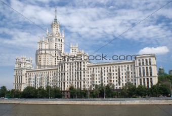 Stalinist Residential house facade on Kotelnicheskaya embankment in Moscow Russia