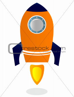 Rocket Ship isolated on white ( blue & orange )