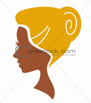 Beautiful face woman silhouette isolated on white
