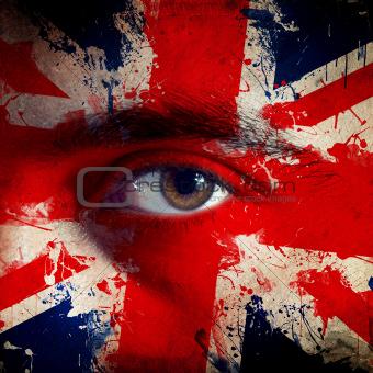 Flag on face