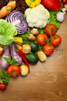 Fresh Organic Vegetables /  on the Wooden Desk