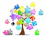 Abstract background with tree and colorful puzzle