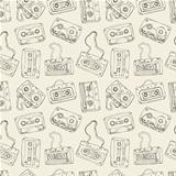Seamless pattern of cassette tapes.