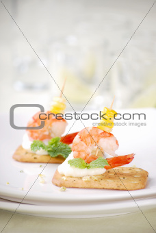 Closeup of delicious canape with shrimp / prawn