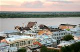 Pink sunset view of the oldest part of Nizhny Novgorod Russia