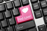 Conceptual keyboard - Find Love (pink key)