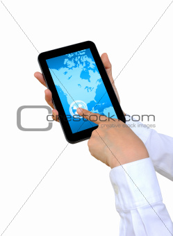 hand pushing North America Continent on a touch screen interface