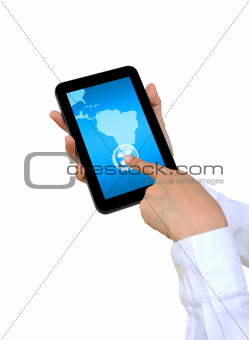 hand pushing South America Continent on a touch screen interface
