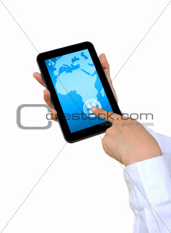 hand pushing Africa Continent on a touch screen interface