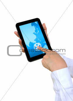 hand pushing Asia Continent on a touch screen interface