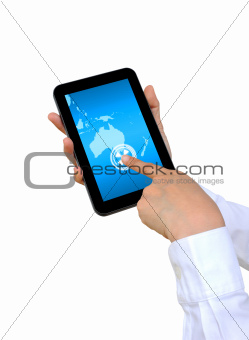 hand pushing Australia Continent on a touch screen interface