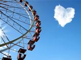 Cloud in the form of hearts and a Ferris wheel