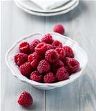 Bowl of juicy raspberries