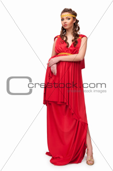 girl in the dress of the Greek goddess