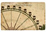 An old postcard with a Ferris wheel.
