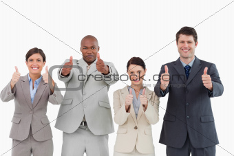 Salesteam giving thumbs up