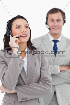 Call center agents standing together