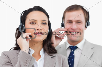 Call center team with their headsets