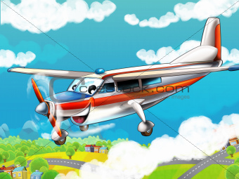The little happy cartoon plane