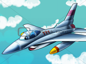 The cartoon - happy jet fighter