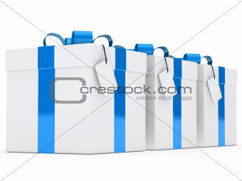 gift boxes blue ribbon