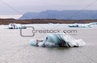 A glacial lake and ice