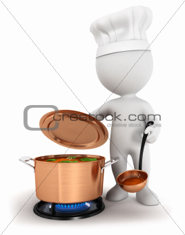 3d white people cooking