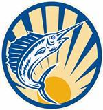 Blue Marlin Jumping Circle Retro