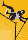 Track and Field Athlete Pole Vault High Jump Retro