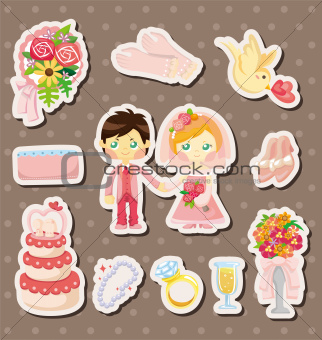 cartoon wedding stickers