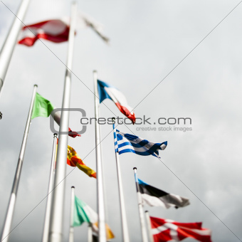 European flags with Greek flag in the centre