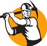 Coal Miner Working Pick Ax Retro