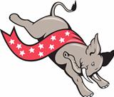 Elephant Jumping Democrat Mascot