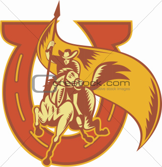Rodeo Cowboy Riding Horse With Flag Horseshoe