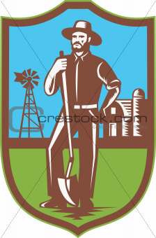 Farmer With Spade Windmill Farm Barn Retro