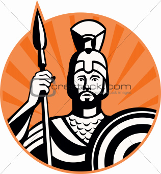 Roman Centurion Soldier With Spear And Shield