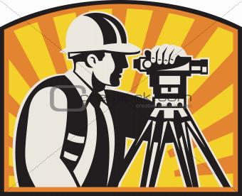 Image Description: Illustration of surveyor civil geodetic engineer ...