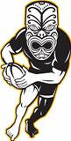 Maori Mask Rugby Player Running With Ball