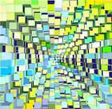 abstract cube pattern blue green yellow backdrop
