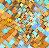 3d abstract fragmented pattern in blue orange