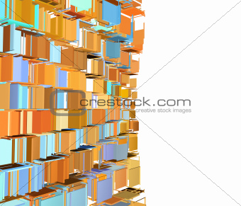3d abstract fragmented pattern in green orange on white