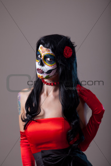 Woman with sugar skull make-up