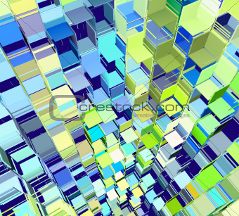 3d abstract fragmented pattern in blue yellow green