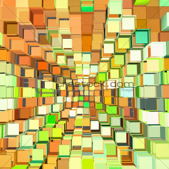 3d abstract fragmented pattern in green orange