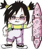 Amazing girl with skateboard