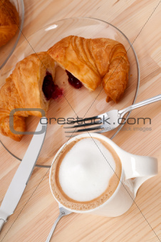 fresh croissant french brioche and coffee
