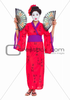 Full length portrait of geisha with fans isolated on white