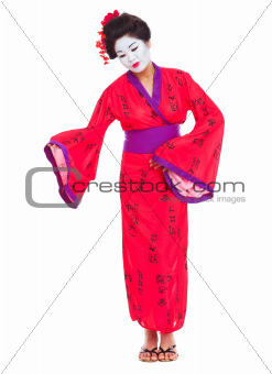 Full length portrait of geisha inviting isolated on white