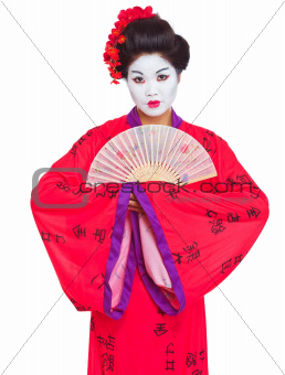 Portrait of geisha with fan isolated on white