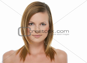 Beauty portrait of healthy girl isolated on white
